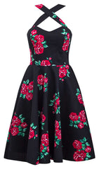 Retro Gal Criss Cross Swing Dress in Red Spanish Rose
