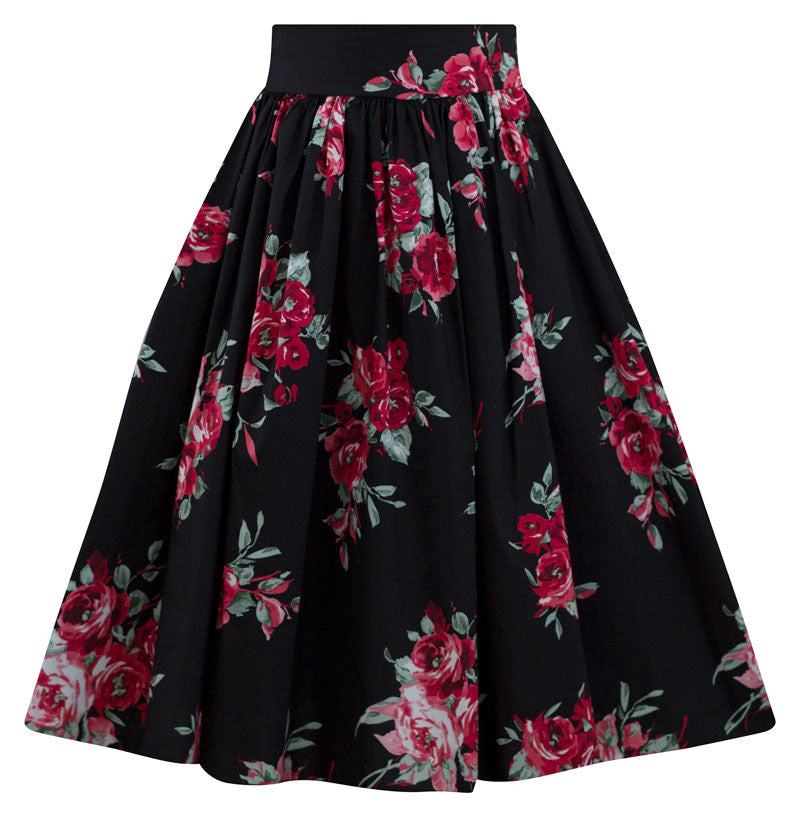 Rose Blossom Floral Swing Skirt in Black