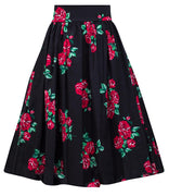Spanish Rose Swing Skirt in Black & Red Floral
