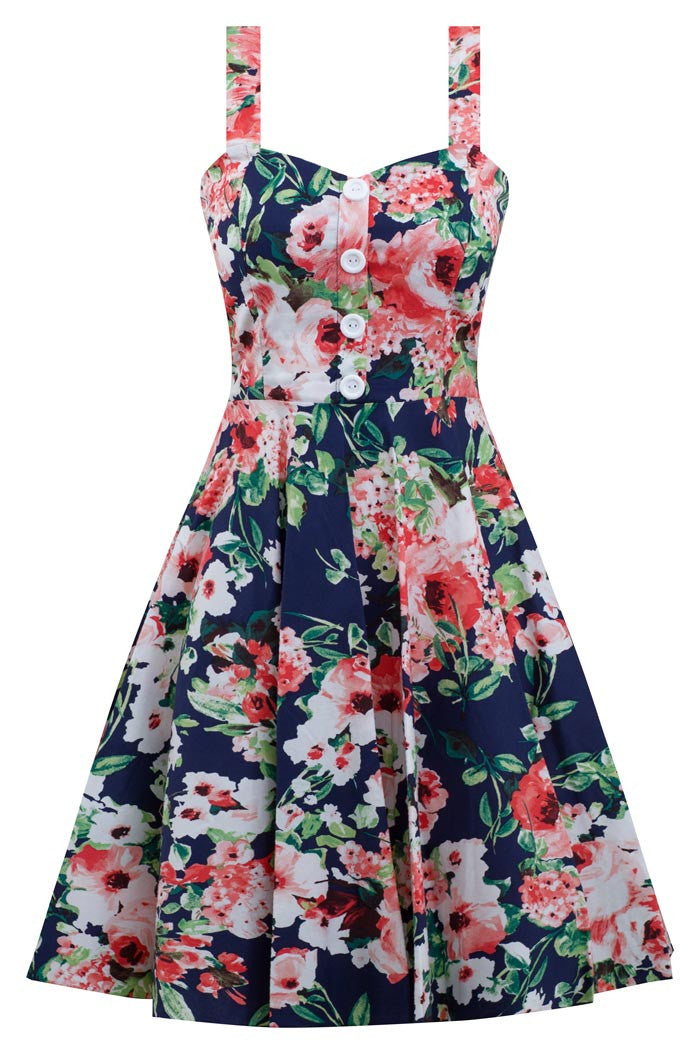 Navy Coral Blossom Summer Floral Swing Dress