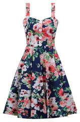 Summer Floral Swing Dress in Navy Coral Blossom