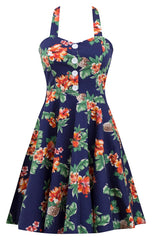 Tropical Swing Dress in Hibiscus Pineapple Print