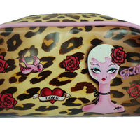 Leopard Pinup Doll Cosmetic Bag by Fluff