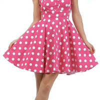 Pink Retro Polka Dot Swing Dress