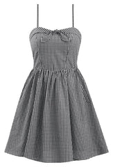 Retro Inspired Gingham Swing Dress in Black & White