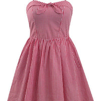 Red & White Retro Inspired Gingham Swing Dress