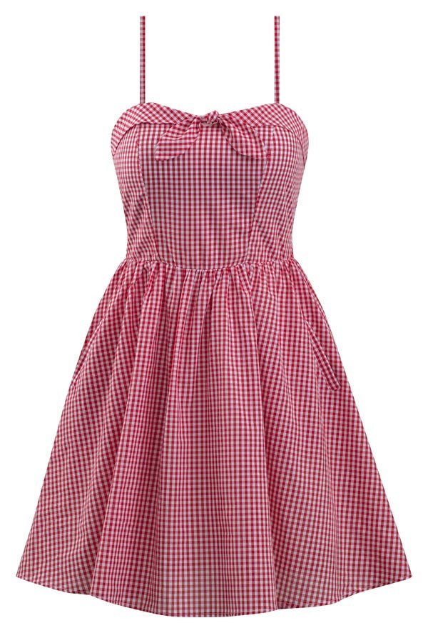 Retro Inspired Gingham Swing Dress in Red & White