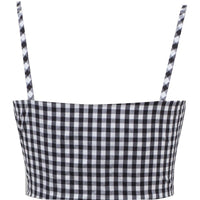 Black & White Gingham Retro Gal Crop Top
