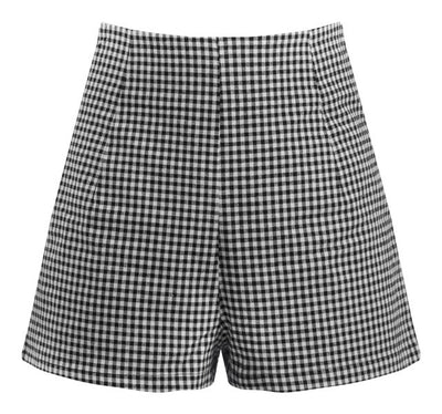 Vintage Style High Waist Shorts in Black & White Gingham