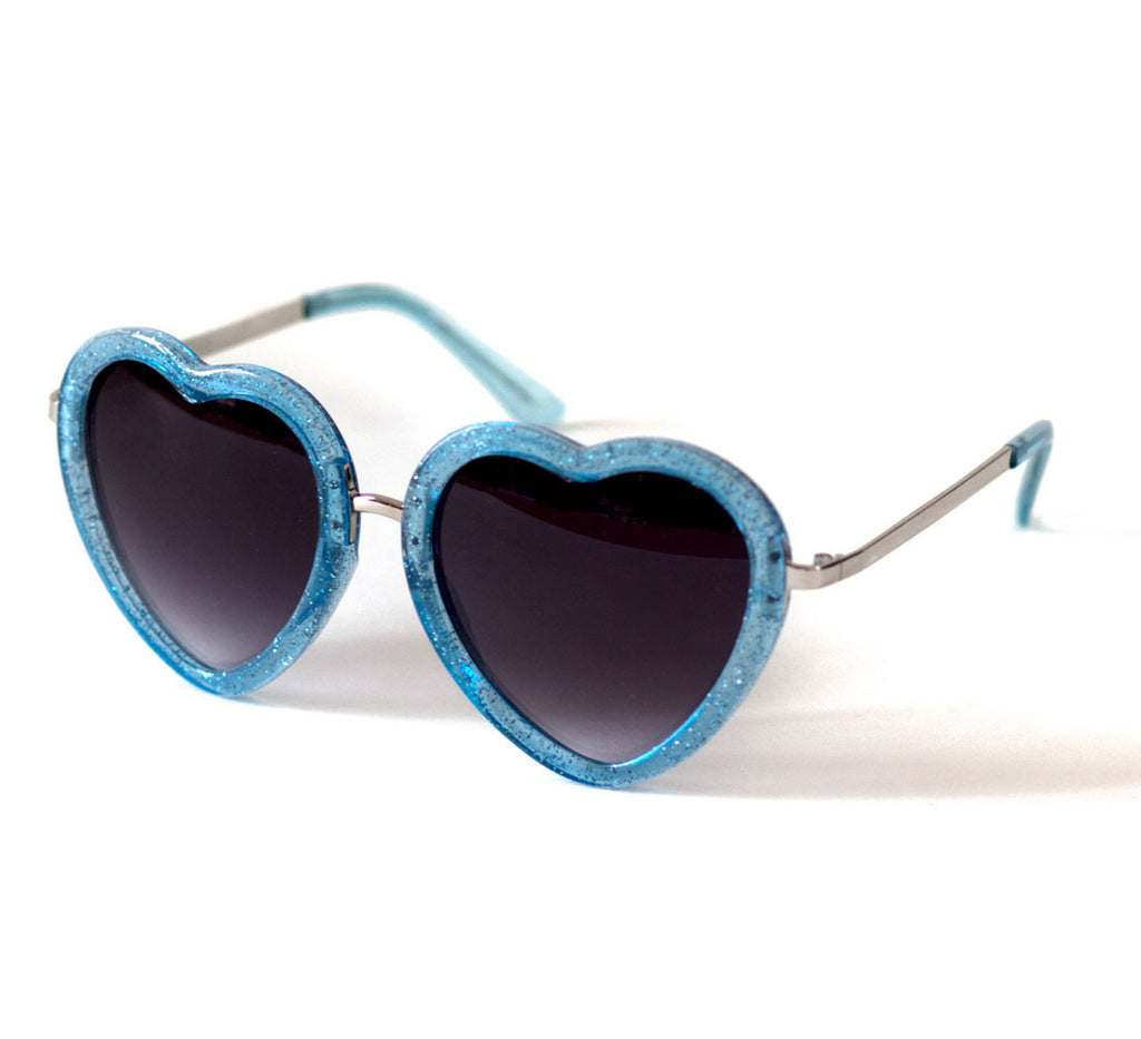Heart Shaped Sunglasses in Blue Glitter