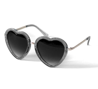 Heart Shaped Sunglasses in Black Glitter