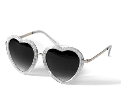 Heart Shaped Sunglasses in Silver Glitter