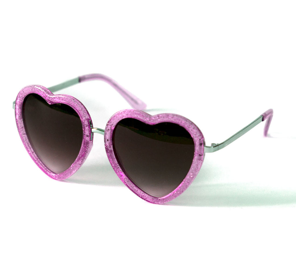 Heart Shaped Sunglasses in Pink Glitter