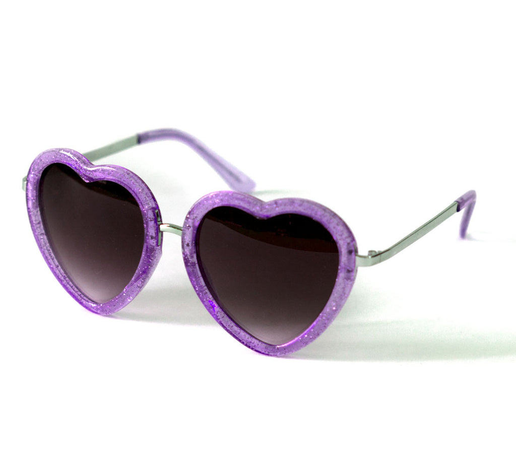 Heart Shaped Sunglasses in Purple Glitter
