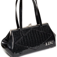 lux de ville high roller kiss lock black glitter purse