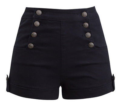 High Waist Sailor Girl Denim Shorts in Black with Anchor Buttons
