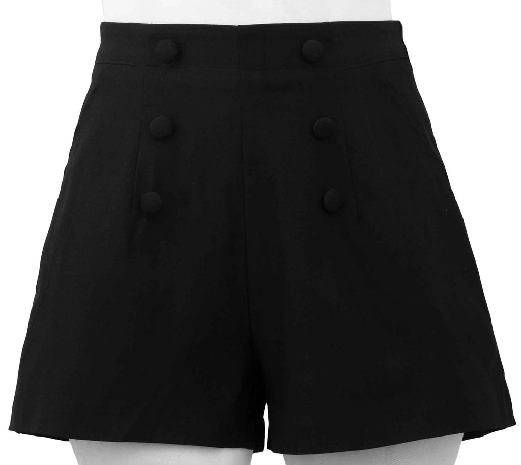 Black High Waist Vintage Gal Flared Shorts