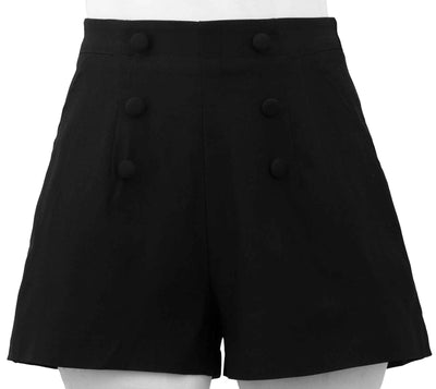 High Waisted Vintage Gal Flared Shorts in Black