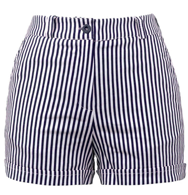 Sailor Girl High Waisted Striped Shorts in Dark Navy & White