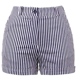 Dark Navy & White Sailor Girl High Waist Striped Shorts