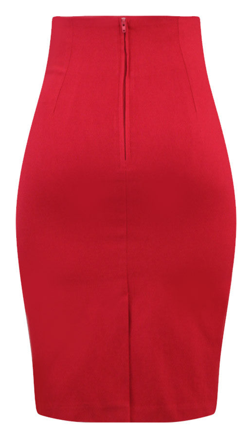 f0f0fd971b High Waisted Pin Me Up Pencil Skirt in Red – Double Trouble Apparel