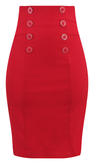 High Waisted Pin Me Up Pencil Skirt in Red
