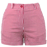 Red & White Sailor Girl High Waist Striped Shorts