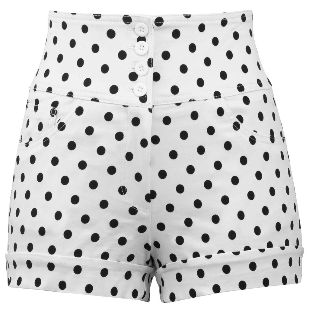 Black & White High Waist 50's Gal Polka Dot Shorts