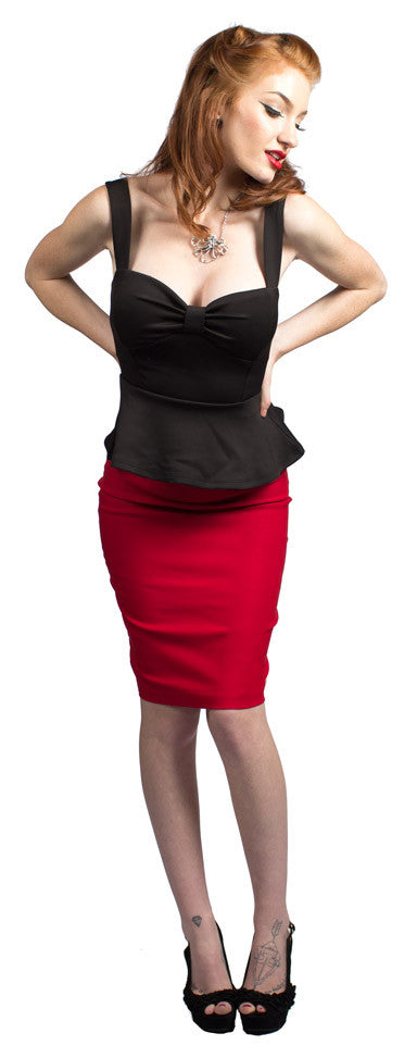 Red Bow Back Pencil Skirt