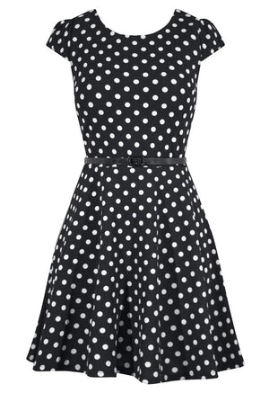 Polka Dot Cap Sleeve Pinup Dress