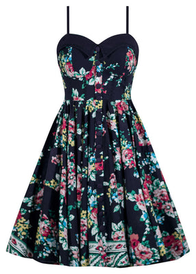 Retro Gal Swing Dress in Navy Floral