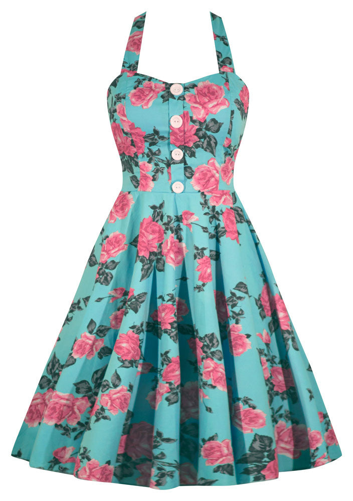 Retro Mint Floral Print Dress