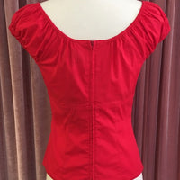 Red Peasant Style Pinup Top