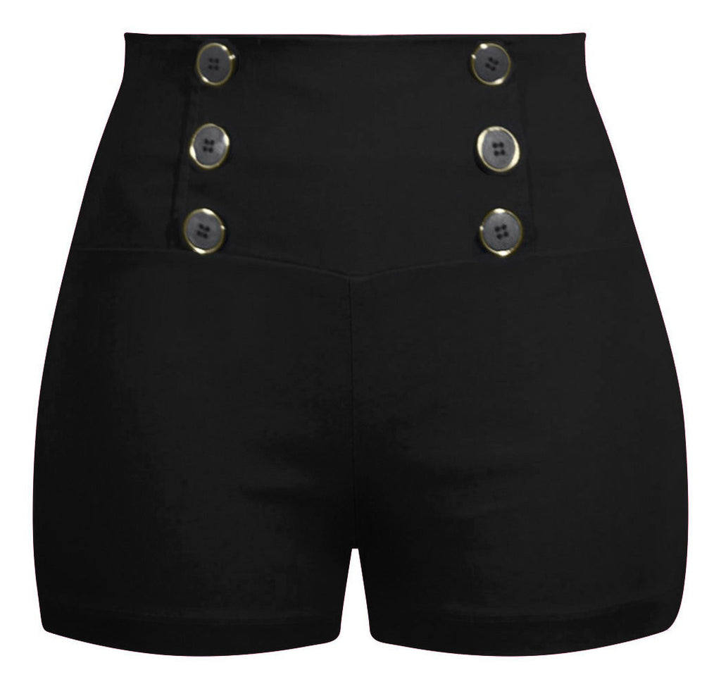 High Waisted Retro Shorts - Black