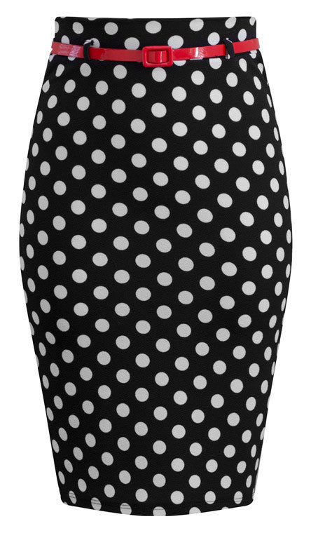 Bombshell Polka Dot Pencil Skirt in Black