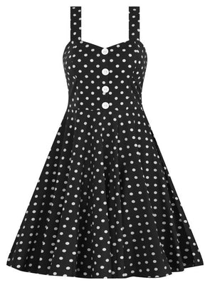 Polka Dot Swing Dress in Black with Button Detail