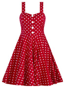 Polka Dot Swing Dress in Red with Button Detail