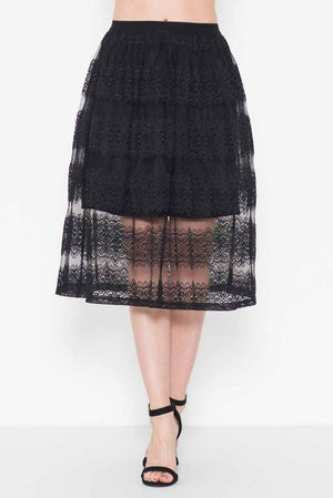 Vintage Inspired Lace Overlay Skirt in Black