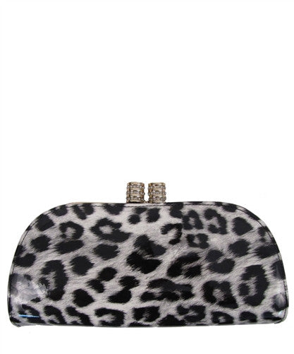 Leopard Patent Clutch in Black