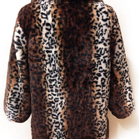 Vintage Inspired Leopard Swing Coat with Pockets