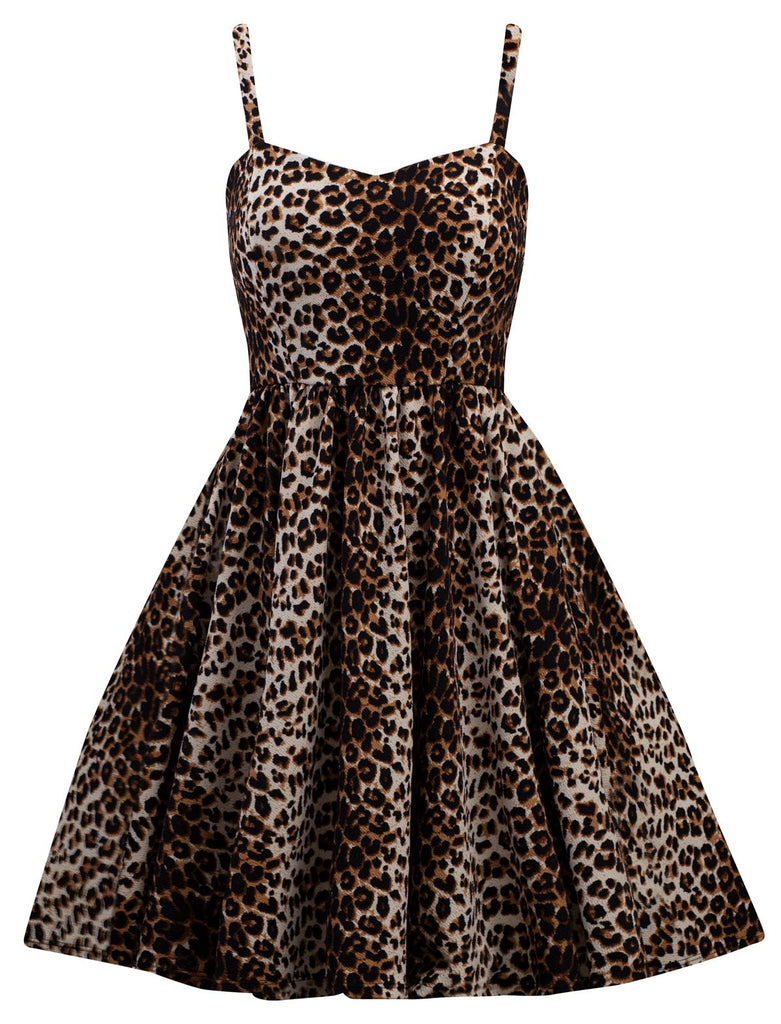 retro leopard pinup dress swing stretchy with sweetheart bust line