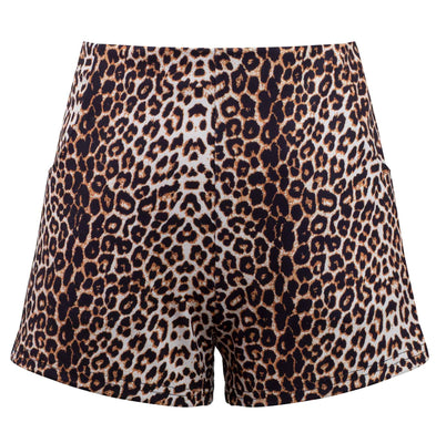 Leopard Print High Waisted Shorts with Pockets