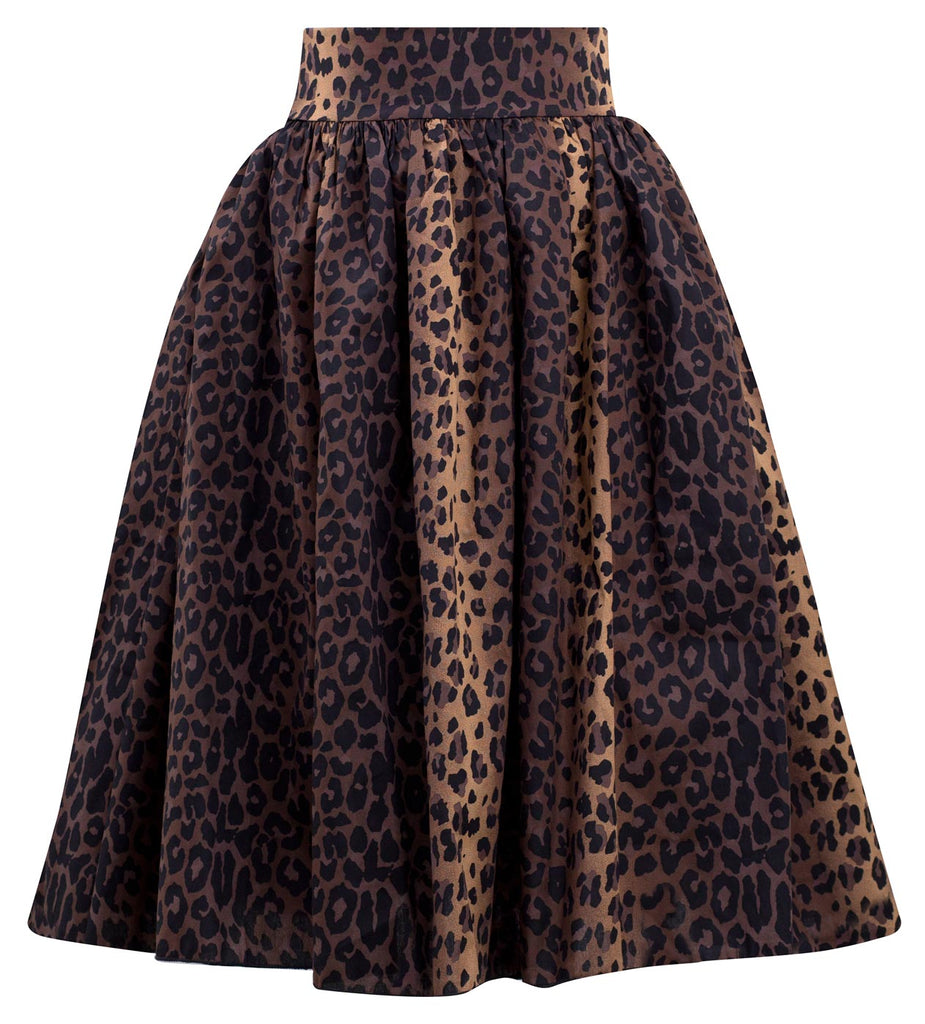 Leopard Print Swing Skirt with Stretch Waist