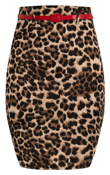 High Waist Leopard Print Pencil Skirt