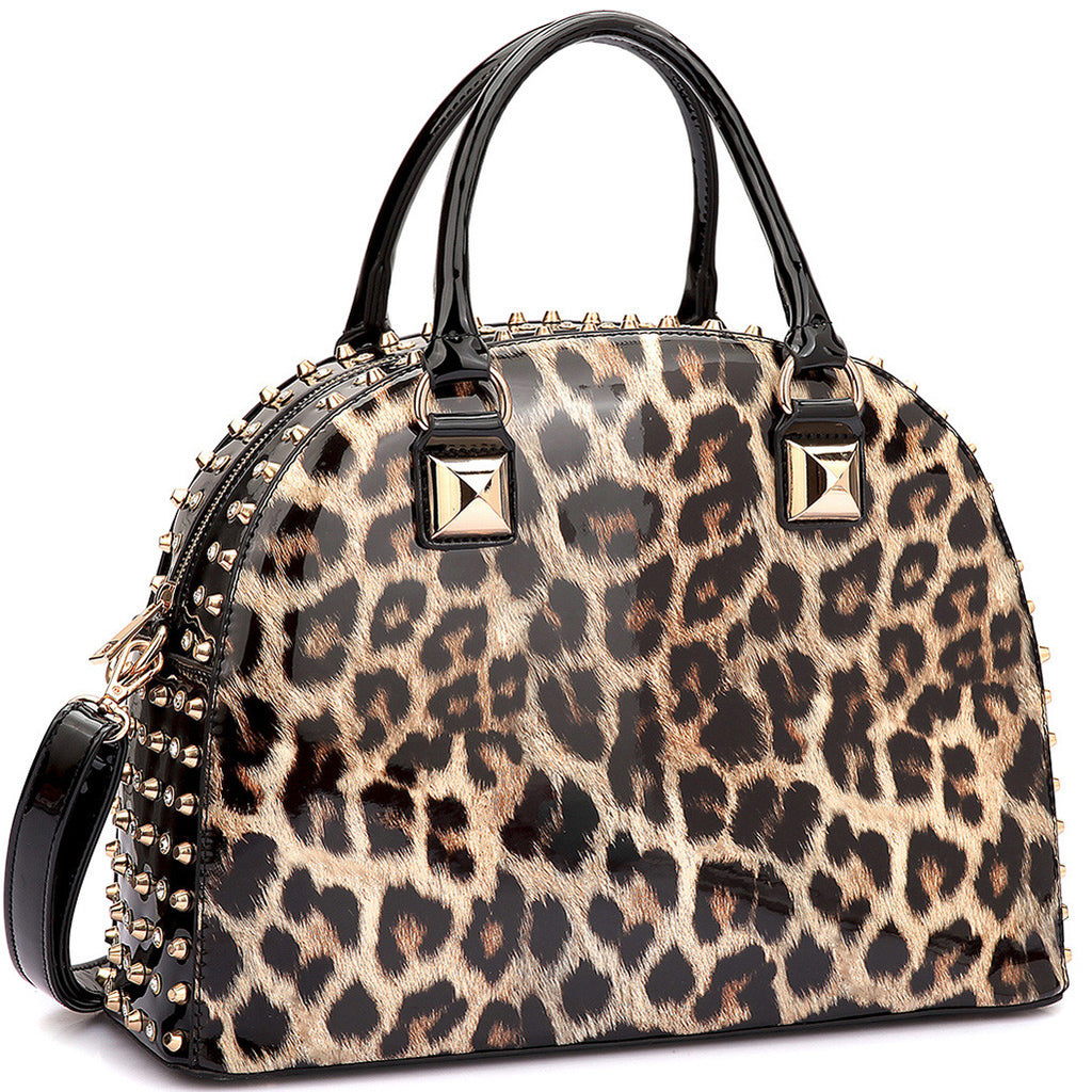 Studded Patent Leopard Handbag in Black & Tan