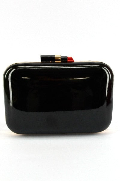 Glamour Girl Lipstick Clutch in Black Patent