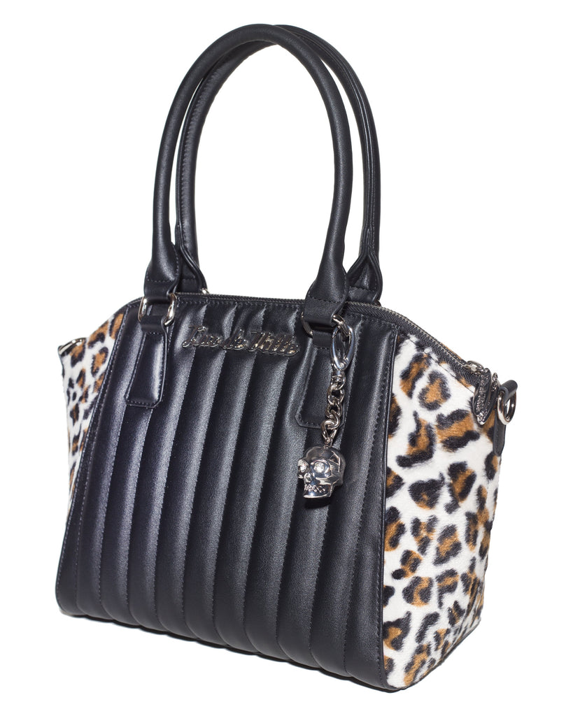 Lady Vamp Tote Handbag in Black Matte and Leopard by Lux De Ville