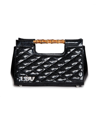 Mai Tai Bamboo Clutch in Midnight Sparkle (Black Glitter) with Crossbody Strap