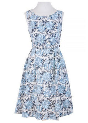 Vintage Spirit Roses Dress in Blue by Mata Traders - FINAL SALE