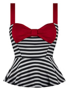 Pin Me Up Striped Peplum Top in Red